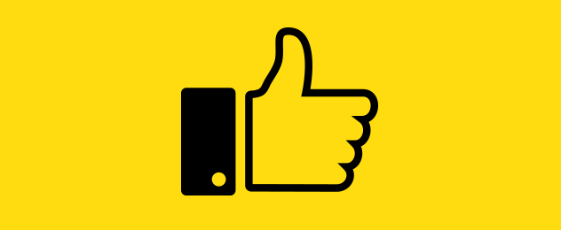 With a yellow background, the facebook like button is depicted.