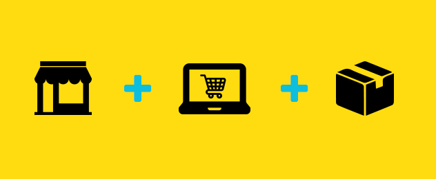 Three symbols are to be seen: A shop, a laptop and a parcel.