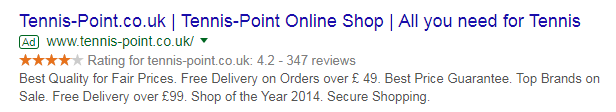 shop reviews in Google Ads