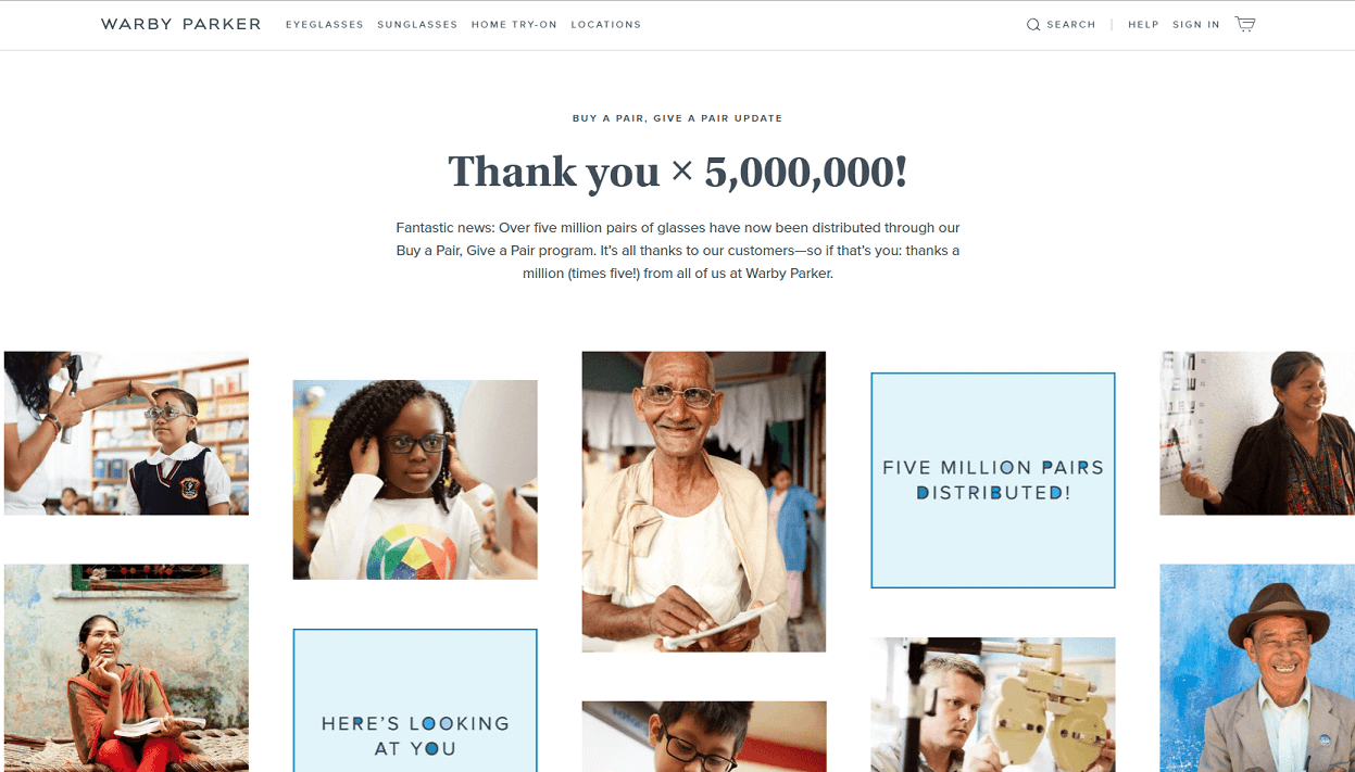 Warby Parker Charity work