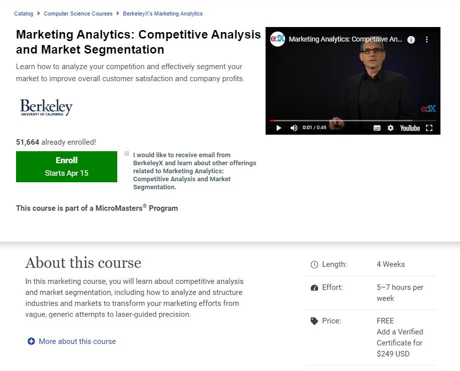 edX course page